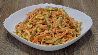 Салат из моркови по - корейски с сыром и сухариками. Carrot salad with cheese and crackers.