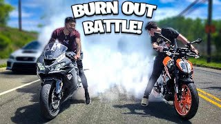 LITTLE BROTHER CALLS ME TO A BURN OUT CONTEST ! | BRAAP VLOGS