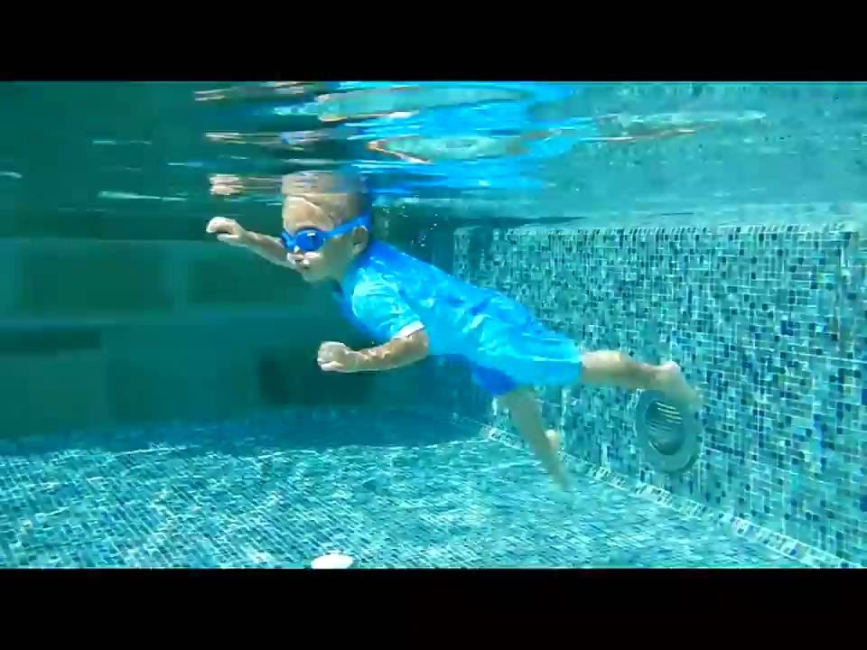 2 Year Old Swimming Freestyle Doing Front Flip And Back Flip Underwater Swimming At Bottom Of