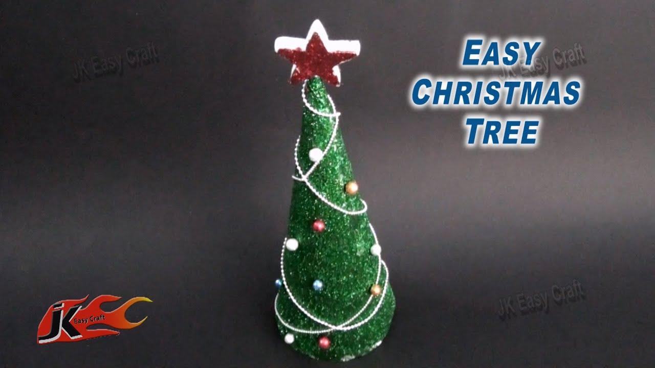 Diy Easy Glitter Christmas Tree  How To Make  Jk Easy Craft 085