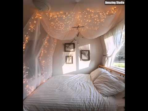 diy bedroom canopy string lights youtube. Black Bedroom Furniture Sets. Home Design Ideas
