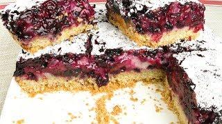 Пирог с чёрной смородиной на овсяном тесте   Blackcurrant pie on the oat dough