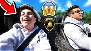 LITTLE BROTHER REACTS TO 700HP LAMBORGHINI LAUNCH!