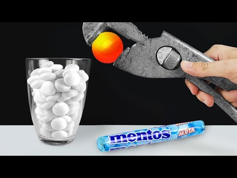 EXPERIMENT: Glowing 1000 Degree METAL BALL VS MENTOS