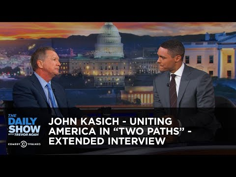 "Thumbnail: John Kasich - Uniting America in ""Two Paths"" - Extended Interview: The Daily Show"