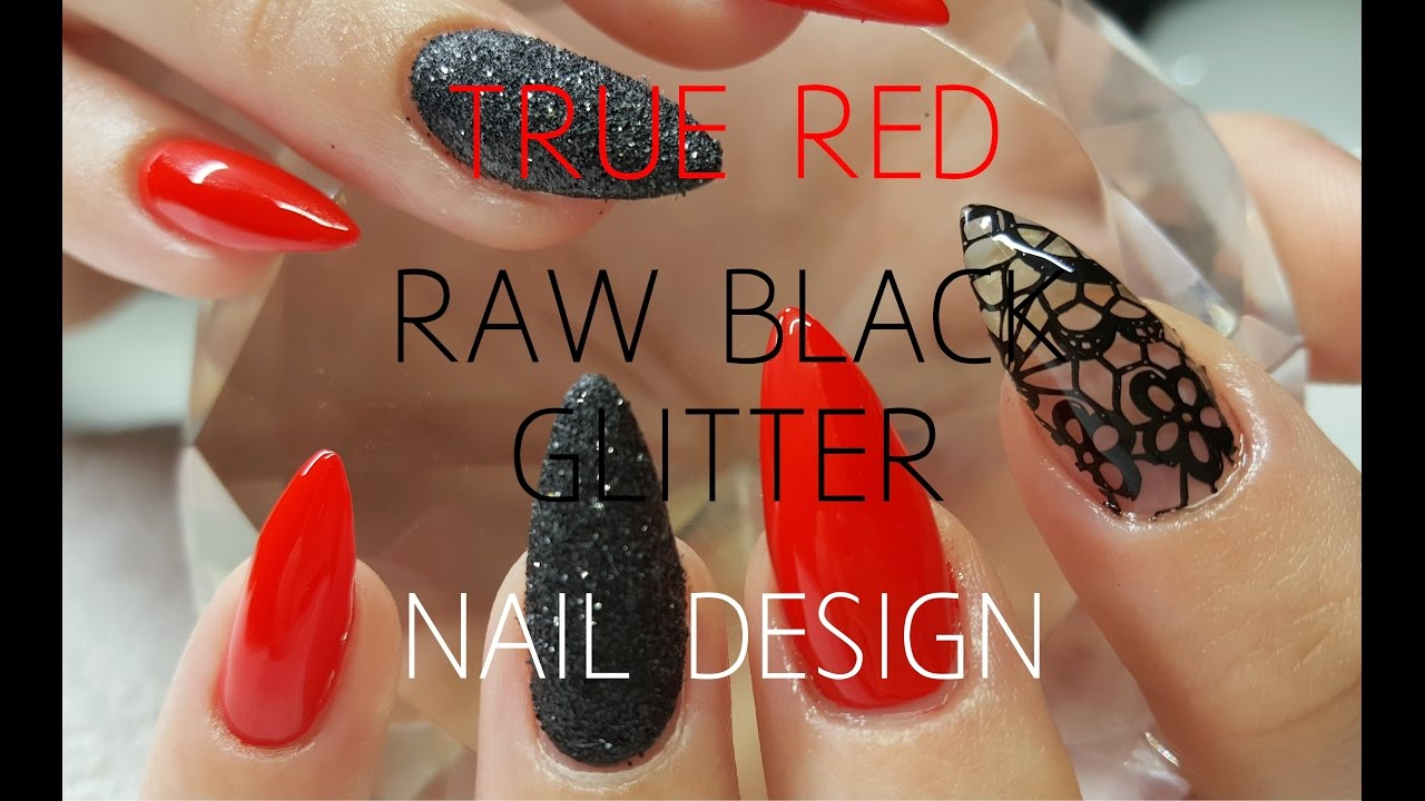 Acrylic Nails With Raw Glitter & Lace Stamping Nail Design - YouTube