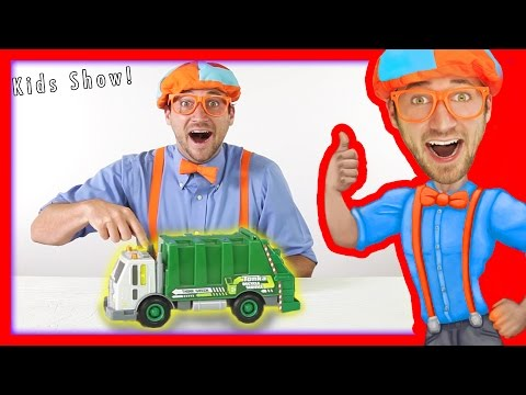 Thumbnail: Garbage Trucks for kids - recycling and dumping trash with Blippi Toys | learn colors