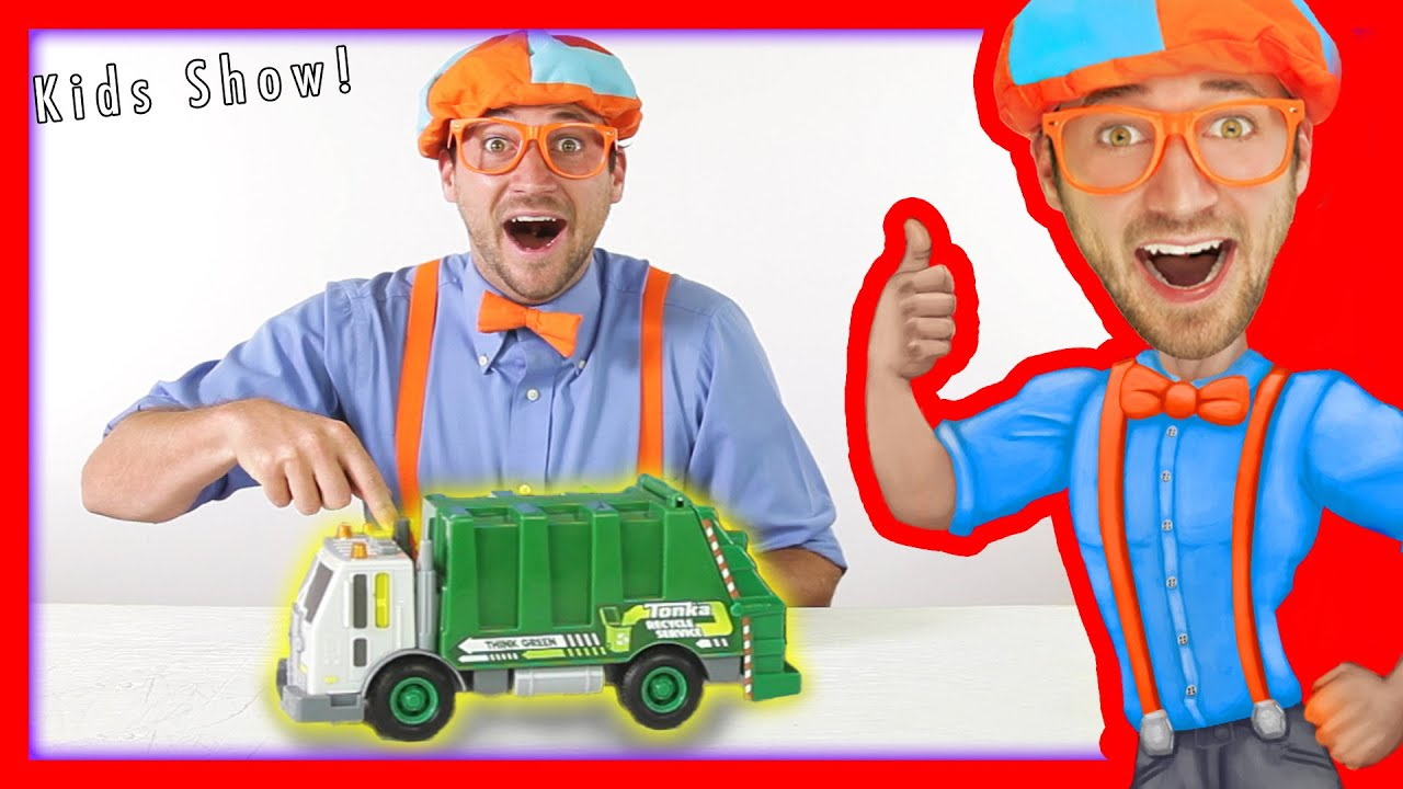Garbage Trucks for kids - recycling and dumping trash with Blippi Toys | learn colors