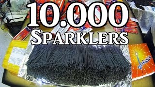 Lighting 10,000 Sparklers At Once!