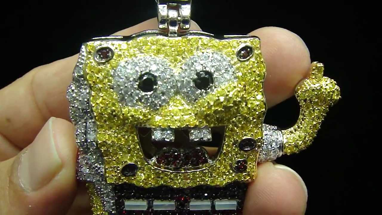 8ad002769b7b7 Mr Chris Da Jeweler Custom Stainless Steel Lab Diamond Sponge Bob Pendant (  $150 Only )