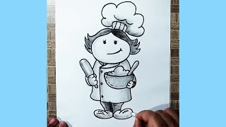 How to Draw a Chef || Very Easy Cartoon Drawing of a Chef || YZArts