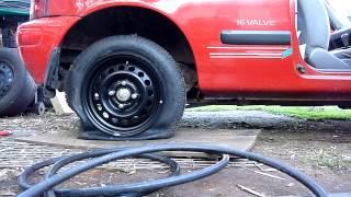 Nissan Micra - Vac Down Flat Tire Fun