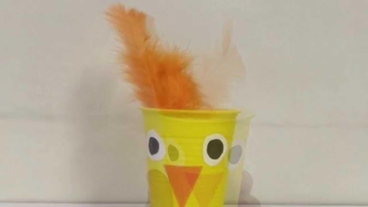 Poussin de p ques avec gobelet en plastique youtube - Fabriquer une boule a neige avec photo ...