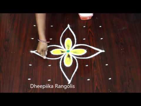 5 dots simple colour rangoli design * beginners kolam design * easy muggulu designs #1