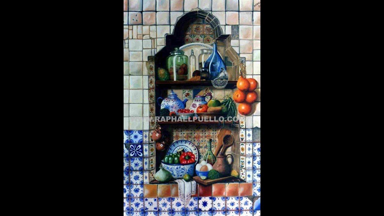 Arte bodegones iii anaqueles y cocinas pinturas de - Cocinas de pueblo ...