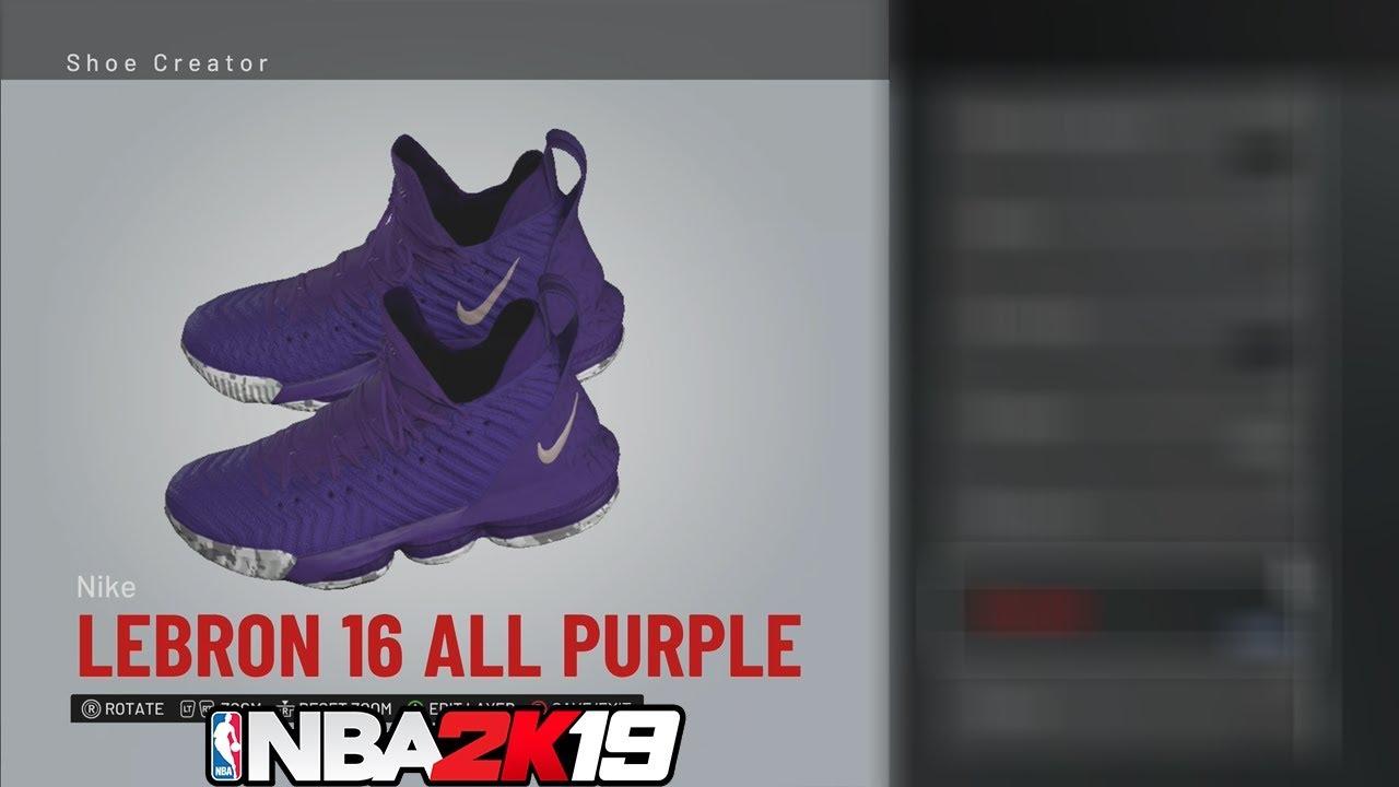 c70127e1363 NBA 2K19 Shoe Creator LeBron 16 All Purple 👟🔥🔌 - YouTube