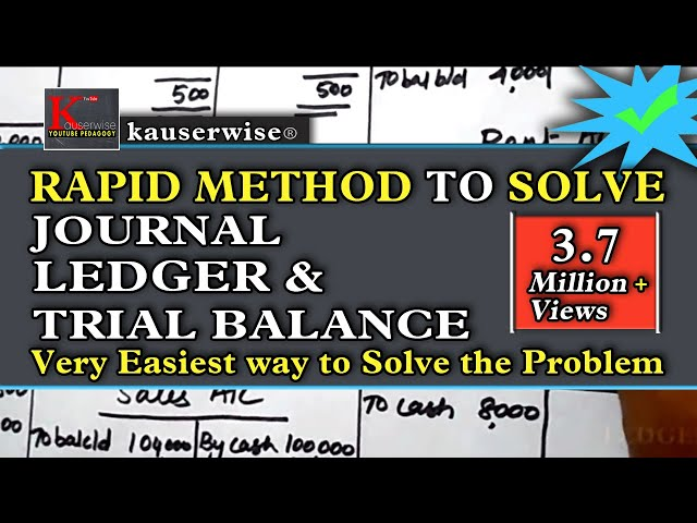 Introduction to accounting||Journal||Ledger||Trial balance||by kauserwise