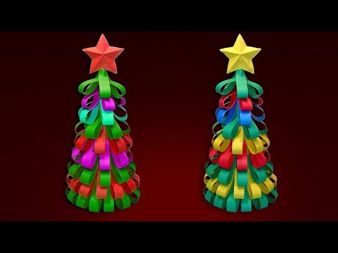 Christmas Tree With Color Paper Ribbons - How To Make a 3D Paper Christmas Tree - DIY Xmas Tree