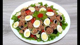 Вкусный САЛАТ с ТУНЦОМ и Овощами #Рецепты Салатов