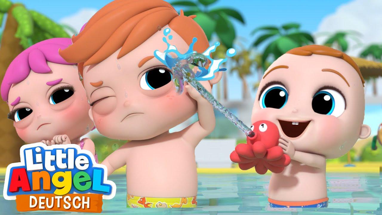 Spass im Freibad   Mit Kindern Schwimmen   Little Angel Deutsch