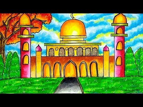 Cara Menggambar Dan Mewarnai Tema Masjid Dengan Gradasi Warna Crayon Oil Pastel Yang Bagus Dan Mudah Youtube