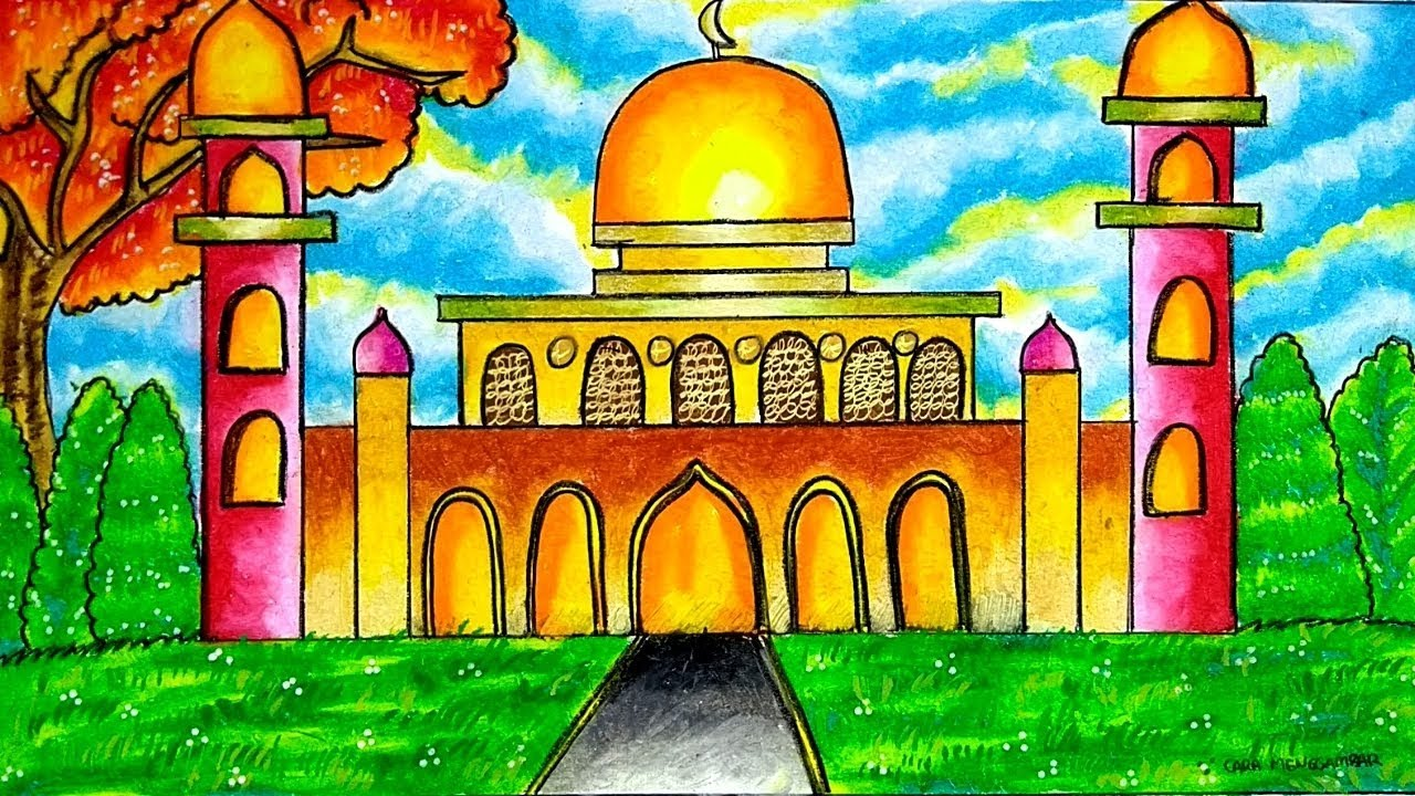 Cara Menggambar Dan Mewarnai Tema Masjid Dengan Gradasi Warna