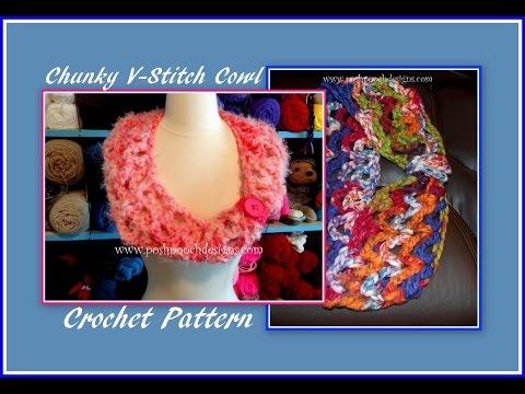 Chunky V-Stitch Cowl Crochet Pattern