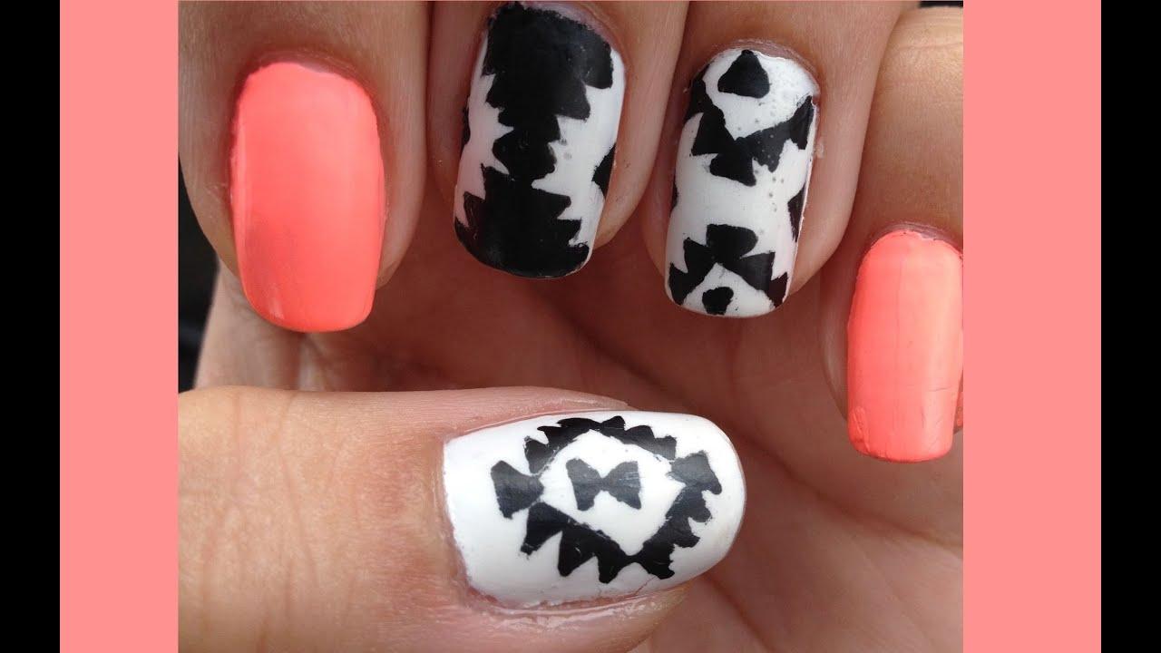 Black White Tribal Nail Art Youtube
