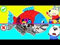 Wolf Family⭐️ Wolfoo Rescue Giant Colorful Robot Fish - Funny Stories for Kids   Kids Cartoon