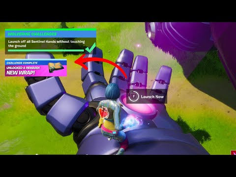 How to unlock Wolverine Wrap in Fortnite - Launch off all Sentinel Hands without touching the ground