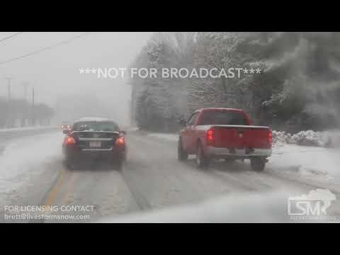 1-17-2018 Greensboro, NC - Snowfall And City Traffic