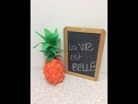 TUTO: Ananas en papier. How to make  the paper pineapple.