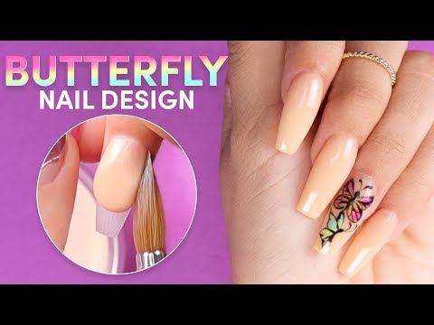 ACRYLIC BUTTERFLY NAILS 🦋KYLIE JENNER INSPIRED NAILS  💅🏻NUDE ACRYLIC NAIL TUTORIAL  💕 thumbnail