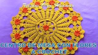 Centro de Mesa a crochet con Flores pasa a paso en video tutorial
