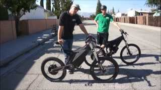 stealth bomber vs hpc xc 2 4500w electric bike comparison and race