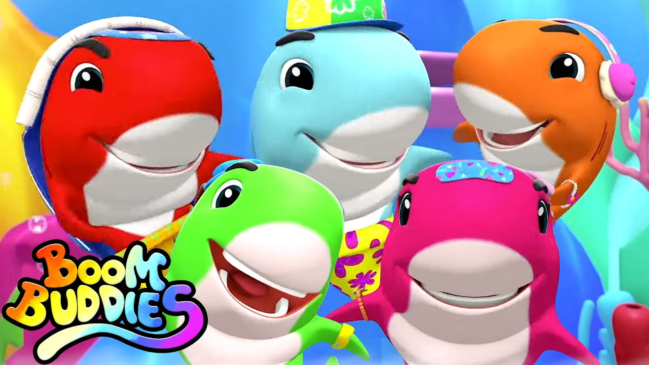 Five Little Sharks Jumping On The Bed | Baby Shark Song | Nursery Rhymes and Kids Songs