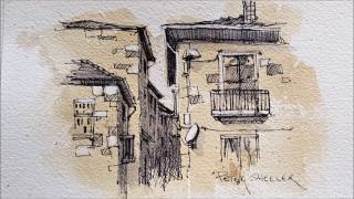 Pen and Ink Sket¢hing on Painted Paper. Adding White Highlghts. Peter Sheeler