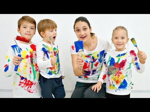 Paint Color Song Nursery Rhymes | Learn Colors | Action Song with Mommy, Jason and Brothers