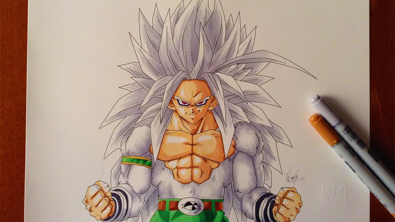 Drawing Goku Ssj5 Super Saiyan 5 From Dragon Ball Af Youtube