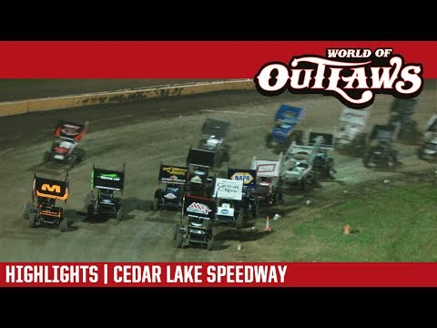 World of Outlaws Craftsman Sprint Cars Cedar Lake Speedway July 8, 2017 | HIGHLIGHTS