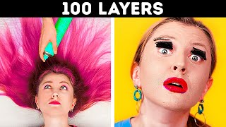 ULTIMATE 100 LAYERS CHALLENGE || 100+ Coats of Things by 123 GO! Live