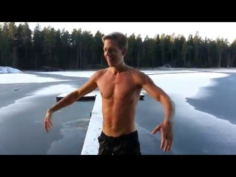 Cold exposure training in an Ice hole in a lake in Sweden #12