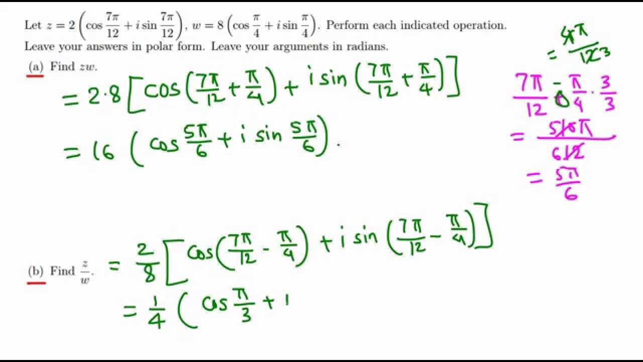 Trig: Product and Sum of two complex numbers in polar form - YouTube