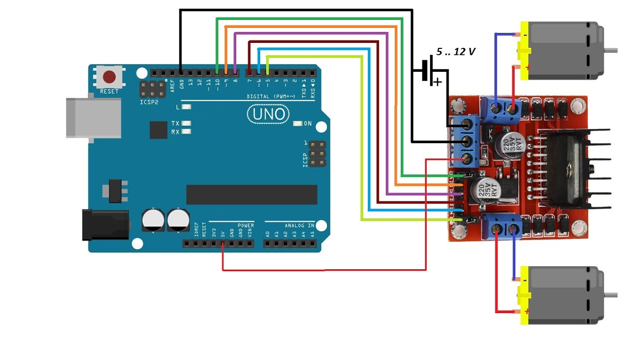 Plc Wiring Diagram 1756 Ia16 Smart Robot Car: Part 4 - Use Arduino And L298n Driver To Control Dc Motors Youtube
