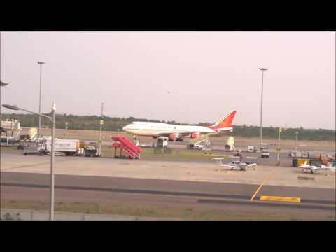 Air India Boeing 747 Taxiing at Rajiv Gandhi International Airport, Hyderabad, India