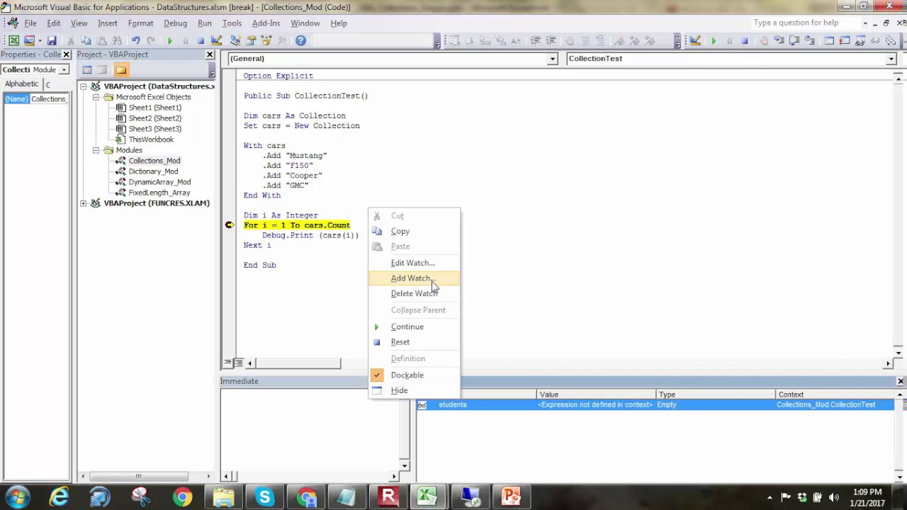 Vba Collections Youtube