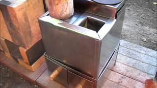Rocket Stove Ideas 34 - Brick & Metal Box Rocket Stove