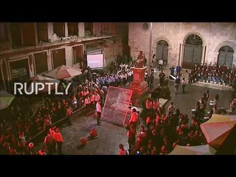 LIVE: Aleppo's cathedral lit up in solidarity with persecuted Christians