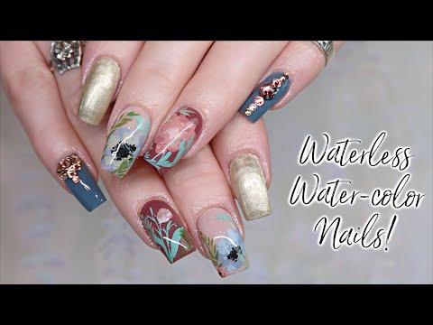 Waterless Water-Color Nails | Gel Nail Art Tutorial thumbnail