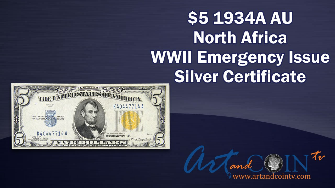 5 1934a Au Silver Certificate Wwii Emergency Issue Yellow Seal At